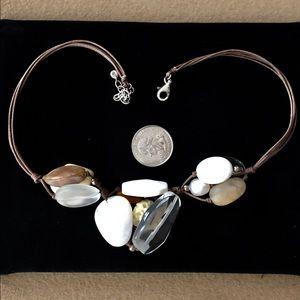 Silpada Leather Boho Necklace Pearls Stone & Bone